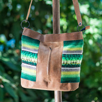 #Handwoven, #handmade #ladies crossbody bag, shoulder bag, #handbag, #purse made of wool and leather