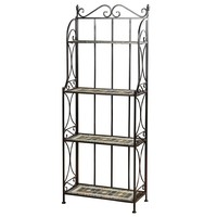 Style Craft Mosaic Stone and Metal 3-Shelf Bookcase