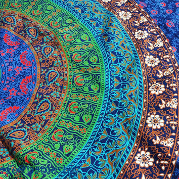 Twin indian Mandala tapestry Hippie Wall hanging Hippie Throw Dorm Tapestry Decorative Wall hanging Picnic Beach Throw