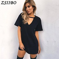 Women Tshirt mini Dress Choker V-neck Summer Dresses Short Sleeve Casual Sexy Halter Boho Beach Dress Vestidos MINI Size