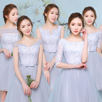 gray short knee length bridesmaid convertible dress junior bridesmaids dresses party gown for teens weddings free shipping R3629