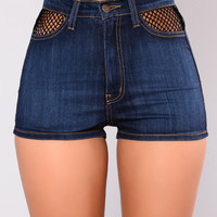 Halia Fishnet Denim Shorts - Dark Blue