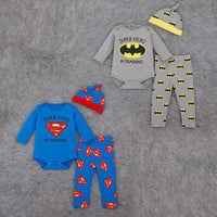 2016 Fashion Cartoon superman/batman baby Clothing Sets 100%cotton baby clothes 3pcs long sleeve infant rompers+trousers+hat
