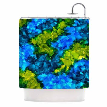 """Claire Day """"Islands"""" Blue Green Abstract Painting Shower Curtain"""