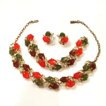Vintage Lucite Full Parure, Set, Necklace, Bracelet, Earrings, Fall Colors, Translucent Leaves, Rhinestones, Unsigned Lisner,  1950s