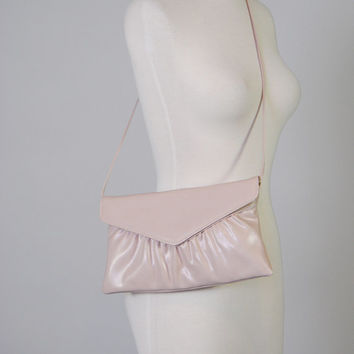 Vintage Mauve Purse 80s Crossbody Pleated Purse Handbag Faux Leather Vegan Bag Convertible Envelope Clutch