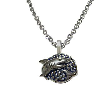 Blue and Silver Toned Shark Pendant Necklace