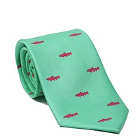 Trout Necktie - Light Green, Printed Silk