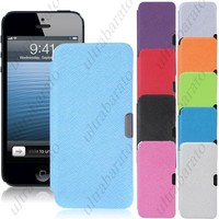 Protective PU Leather Hard Case Cover Shell Protector for Apple iPhone 5 5S from UltraBarato Gadgets