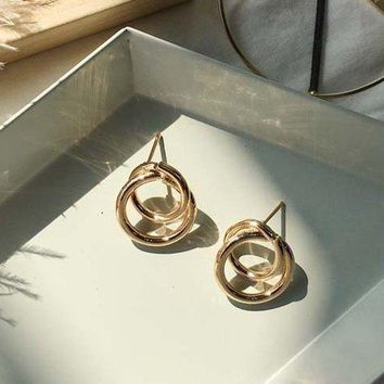 Simple Double Hoop Metal Stud Earrings