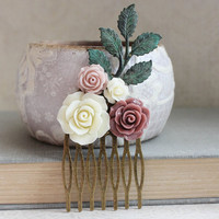 Floral Collage Hair Comb Dusty Rose Pink Vintage Style Cream Rustic Wedding Hair Bridemaids Gifts Verdigris Patina Branch Unique Hair Clip
