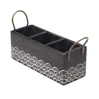 Carved Mango Wood Silverware Caddy