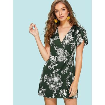 Green V-Neck Tulip Sleeve Floral Print Wrap Dress