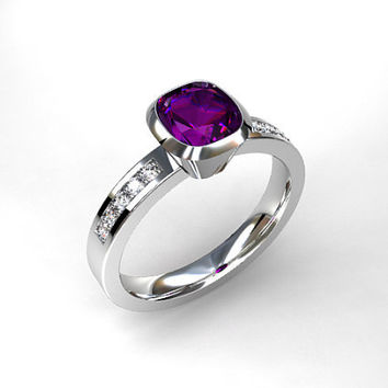 Cushion cut Amethyst ring, engagement ring, diamond engagement, purple, Amethyst, bezel, solitaire, unique, rose gold, white, yellow