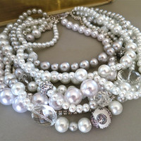 Bridal Choker Necklace Statement Wedding Chunky Jewelry Grey White Pearl Crystal Accessories