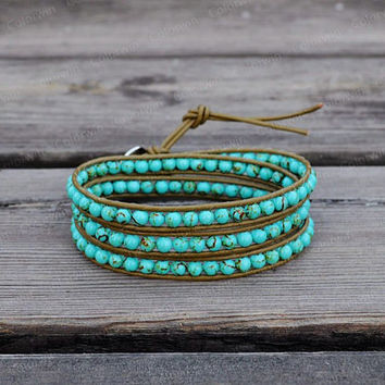Leather Bracelet Turquoise Wrap Bracelet Turquoise Bracelet Jasper Leather Wrap Bracelet 4mm Beaded Bracelet Bridesmaid Gift For Her