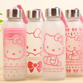 2015 summer hot sale promotion hello kitty water bottle small Frosted glass cup KT cat cartoon glass bottle cup for girls