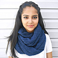 Royal Blue Knit Infinity Scarf Chunky Sweater Knit Circle Scarf Loop