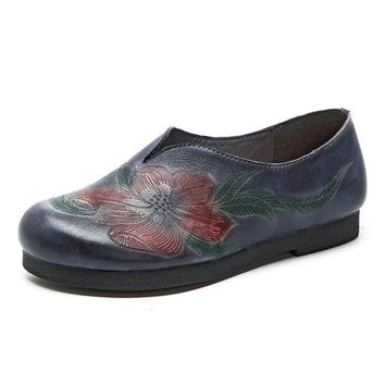 Retro Soft Flower Pattern Handmade Flat Leather Shoes