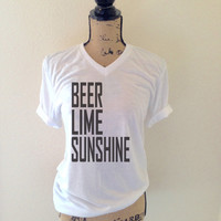 Beer Lime and Sunshine Tank Top in Black for Women - Beer Tank Tops - Beer Shirts - Celebration Shirts - Party Shirts
