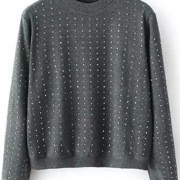 Dark Grey Metal Embellished Sweatshirt