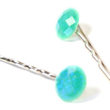 Sparkling Mint Green bobby Pin - Embellished Hair Pin - Mint Green Jewel Cabochon Bobby Pin