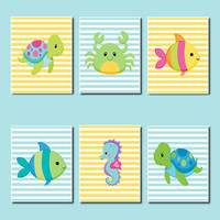 Sea Animals WALL ART, Kids Bathroom Decor, Sea Life Nursery Fish Turtle Seahorse Crab Set of 6 Prints Or Canvas Boy Girl Bathroom Wall Art