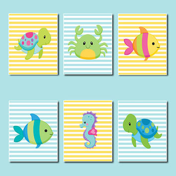 Sea Animals WALL ART, Kids Bathroom Decor, Sea Life Nursery Fish