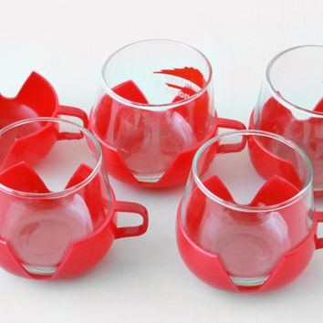 Stackable Coffee Cups Mugs // Set of 5 Tea Cups // Glass Plastic JAJ Pyrex Mugs // 70s 80s European Serving Teacups Red Set
