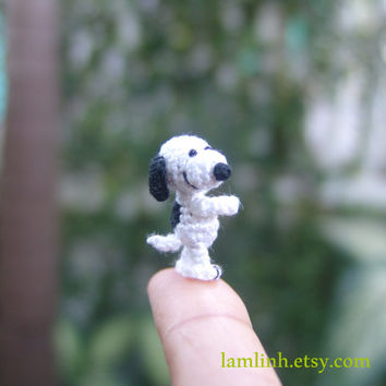 miniature animal 0.9inch - dollhouse white and black dog - tiny amigurumi animals