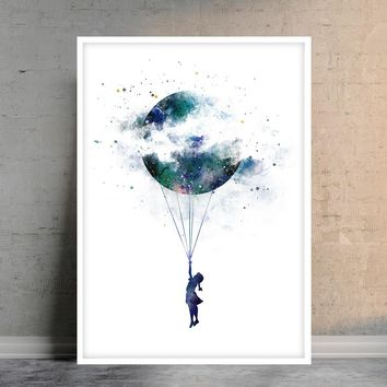 Balloons, watercolor balloons print, Balloons poster, kids room decor, kids print, nursery print, wall art print, nursery wall art - 351