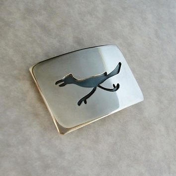 VINTAGE Native American STERLING Silver Belt Buckle ROADRUNNER Bird Overlay 23.5 Grams c.1970's