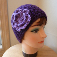 Crochet Hat - Beautiful purple crochet beanie hat with large lavender flower detail