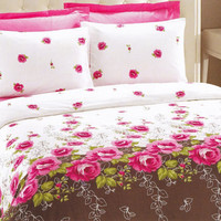 Custom Queen Size Pink Roses on White and Brown Backround Satin Bedding Set