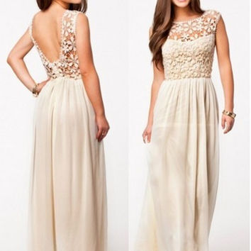 Floral Lace Sleeveless Backless Pleated Chiffon Sheath Maxi Dress