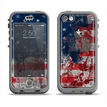The Grungy American Flag Apple iPhone 5c LifeProof Nuud Case Skin Set