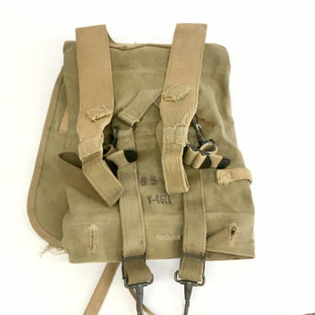 Haversack Canvas Field Pack, US Army Backpack, Crawford Austin Mfg Co, Military Backpack, Hiking Gear,  Hunting Gifts, Haversack M1928