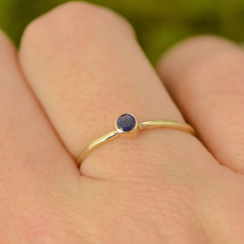 Fall Sale Sapphire Yellow Gold Ring - 10k Gold Jewelry - Round Sapphire Ring - Promise Ring - September Birthstone