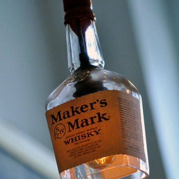 Recycled Maker's Mark Whiskey Bottle Pendant Lamp with vintage Lightbulb