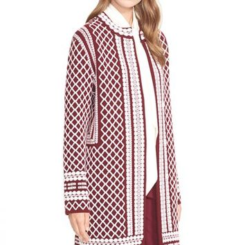 Women's Tory Burch Merino Jacquard Sweater Coat,