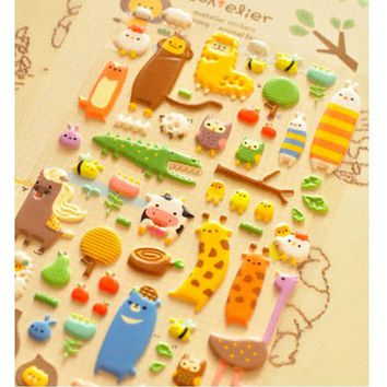 1 X cute animals 3D bubble sticker decorative decal DIY diary album scrapbooking kawaii stationery