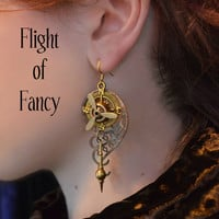 Steampunk Chandelier Earrings, Propeller, Compass, Clock Pendulum, Copper Filigree By AlchemyDivine