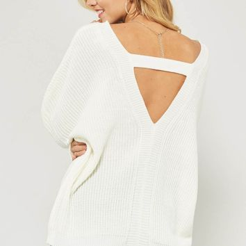 Ivory V-Neck Sweater With V-Back