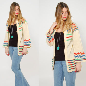 Vintage 70s Boho Sweater BELL SLEEVE Hippie Sweater STRIPE Folk Sweater Toggle Button Cardigan