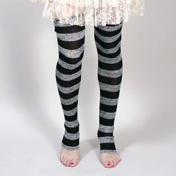 TRIXY XCHANGE - Striped Sweater Knit Leg Warmers Cozy Over The Knee Socks Black Knit Leggings Grey Knit Tights Lolita Long Socks Steampunk