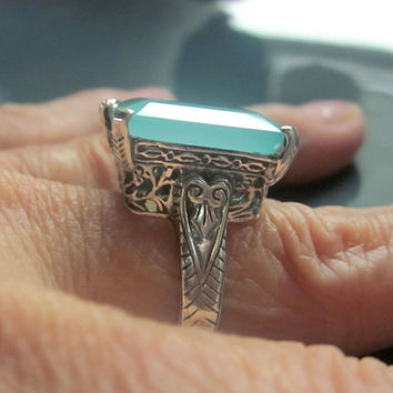 Sterling chalcedony ring 925 chalcedony ring green chalcedony ring antique style chalcedony ring size 9 chalcedony ring clearance sale