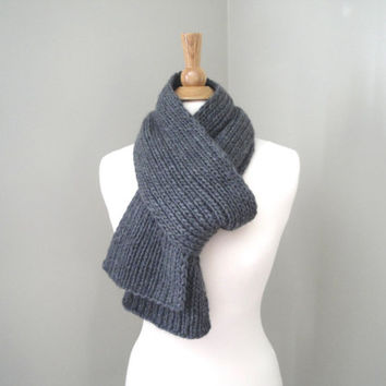 Luxury Knit Scarf, Merino Wool & Cashmere, Chunky Gray Muffler Scarf, Men - Women