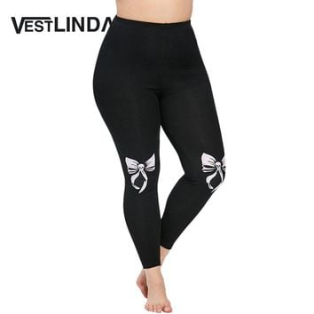Casual Black High Waist Pencil Pants Plus Size Bowknot Skull Leggings