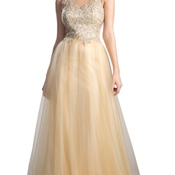 Cinderella Divine - Beaded Lace Tulle A-line Prom Dress