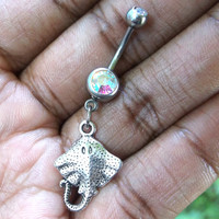 Stingray 14 gauge stainless steel belly button navel ring, body jewelry, 14g
